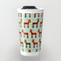 Travel Mug featuring Brown horse on a blue floral background by EkaterinaP
