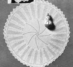 Free knitting pattern for a circular baby shawl with spiral centre, feather and fan border and sawtooth lace edging. Measures 50 inches across. Baby Knitting Patterns, Knitting For Kids, Lace Knitting, Baby Patterns, Knitting Projects, Knitting Bear, Blanket Patterns, Crochet Patterns, Crochet Baby Shawl