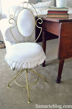 DIY Thrifted Shabby Vanity Chair Makeover
