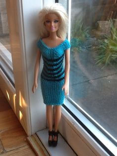 Hand Knitted Barbie / Sindy Doll Clothes Pretty Turquise Blue And Black Dress - sold