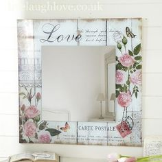 decopodge Carte Postale Square MIRROR -Love Shop for beautiful shabby chic accessories, vintage furnishings and country accessories for the home. Shabby Chic Crafts, Vintage Shabby Chic, Shabby Chic Style, Shabby Chic Decor, Shabby Chic Mirror, Decoupage Vintage, Decoupage Art, Wood Crafts, Diy And Crafts