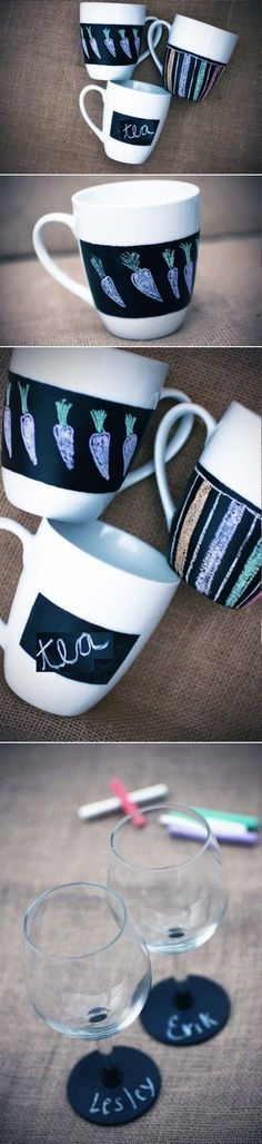 DIY Chalkboard Mugs And Glasses - get people to write or drawer something on them before handing them to the till at you shop. or the tender writes something on them instead. Diy Craft Projects, Fun Crafts, Diy And Crafts, Home Crafts, Diy Mugs, Sharpie Mugs, Diy Crafts Magazine, Diy Chalkboard, Diy Interior