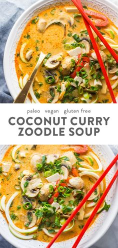 This paleo coconut curry zoodle soup is quick and delicious, loaded with creamy coconut milk, intensely flavorful red curry paste, and zoodles. This recipe is a wonderful paleo dinner or paleo soup recipe to add to your collection. Low carb yet fil Vegan Zoodle Recipes, Healthy Soup Recipes, Curry Recipes, Seafood Recipes, Whole Food Recipes, Seafood Soup, Red Curry Recipe, Detox Recipes, Free Recipes