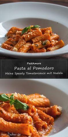 Rezept: Pasta al Pomodoro. Schnelle Tomatensoße mit Nudeln<br> Pasta al Pomodoro. Pasta Al Pomodoro, Pasta Recipes, Dinner Recipes, Lasagna Recipes, Lasagna Soup, Tomato Sauce, Tomato Recipe, Pasta Sauce, Italian Recipes