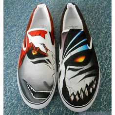 Items similar to Ready to ship - UK 10 (EU US Bleach Custom Painted Slip-on Trainers - Birthday Gift Unisex Women Men Comics, Shoes Sneakers Anime on Etsy Painted Canvas Shoes, Hand Painted Shoes, On Shoes, Me Too Shoes, Otaku, Slip On Trainers, Bleach Manga, Anime Merchandise, Anime Shows
