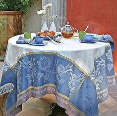 French jacquard sunflower tablecloth in blue.
