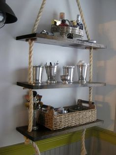15. Hang storage shelving on rope.  Hanging shelves on a rope? This is a great idea for a bathroom, and means you can even hang storage over your toilet.   Read more: http://stylecaster.com/diy-bathroom-storage-ideas/#ixzz3z5rxq2lF