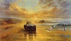 """Alan Fearnley (British, born """"Freedom"""" ~ This print is taken from an original oil painting showing a Caterham 7 being driven on the beach. Chris Rea, Artwork Display, Car Drawings, Limited Edition Prints, Love Art, Illustrators, Contemporary Art, Freedom, Illustration Art"""