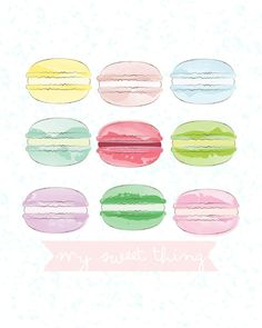 french macaron pastel watercolor art print by landofpines Lilac Nursery, French Macaron, Pastel Watercolor, Vintage Glamour, Macarons, Eyeshadow, Unique Jewelry, Art Prints, Chic