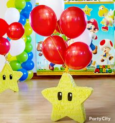 Add a pop-worthy power-up to your Super Mario party! A Mario's Super Star piñata available at Party City makes your decorating invincible!
