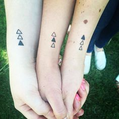 Wrist tattoos are one of a kind. Wrist Tattoos, Mini Tattoos, Body Art Tattoos, Tatoos, Tattoo Drawings, Siblings Tattoo For 3, Sibling Tattoos, Pulse Tattoo, Matching Bff Tattoos