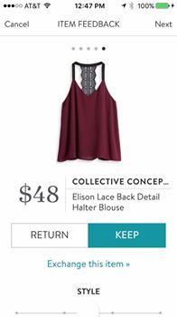 Stitch FIx Collective Concepts Elison Lace Back Detail Halter Blouse
