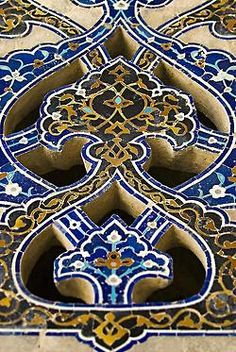 Tile mosaic openwork, from the Jameh Mosque in Isfahan, Iran.