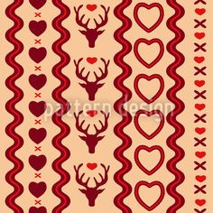 Mating Season Amor by Dorothee Schaller available as a vector file on patterndesigns.com Deer Illustration, Deer Ornament, Vector Pattern, Pattern Design, Swiss Design, Vector File, Seasons, Patterns, Party