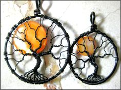 Mini Halloween Moon - Full Moon Tree of Life Pendant Orange Pearl Coin Bead Black Wire Haunted Forest Harvest Moon Small Gothic Spooky. $45.00, via Etsy.