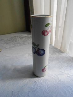 Vintage hand painted porcelain vase with plums and by LADYG99