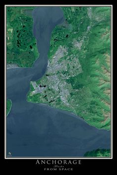 Anchorage Alaska From Space Satellite Art Poster