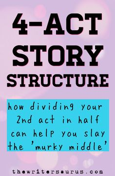 Have you been plotting with three-act structure.only to find yourself getting stuck in the middle? Then maybe it's time to switch to using four acts to plot your story instead! Writing A Novel Tips, Writing Workshop, Fiction Writing, Writing Skills, Writing A Book, Writing Ideas, Writing Prompts, Writing Resources, Writing Help