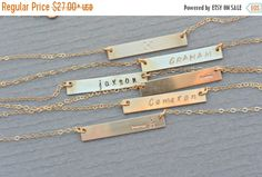 Mothers Day SALE / Personalized Bar Necklace by SilverLotusDesigns
