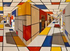 CUBES Bauhaus, Piet Mondrian Artwork, Art Cube, Colour Architecture, Shadow Art, Op Art, Abstract Art, Art Gallery, Scene
