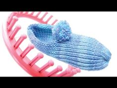 How to make slippers with a round knitting loom - YouTube