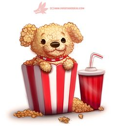 Daily Paint 1287. Pupcorn by Cryptid-Creations on DeviantArt