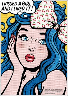 I Kissed a Girl (Katy Perry), Pop Art Lyrics Poster, Comic Book Style Song Illustration,