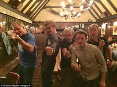 Getting Legolas? Orlando Bloom joined Elijah Wood, Dominic Monaghan, Billy Boyd and Virgo Mortensen as he reunited with the Lord Of The Rings cast