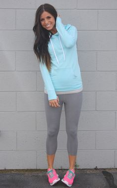 baby blue and bright pink workout wear