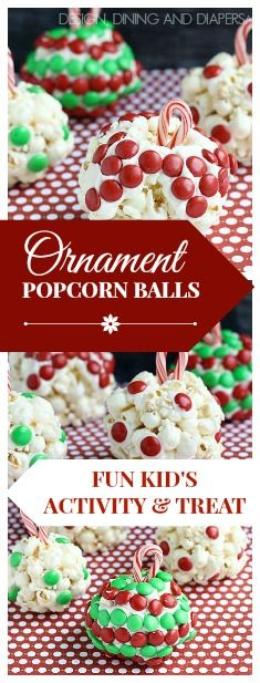 Ornament Popcorn Balls! What a fun kid's activity and treat during the holidays! via @Taryn {Design, Dining + Diapers}