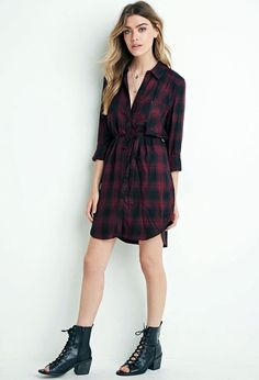 NWT Forever 21 Womens Belted Burgundy Black Plaid Shirt Dress Sz XL 90s Grunge #FOREVER21 #ShirtDress #Casual