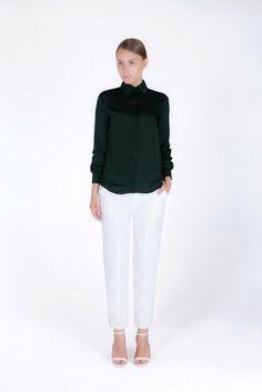 Shirt-Style Blouse Shirt Style, Normcore, Loft, Blouse, Pants, Shirts, Women, Fashion, Trouser Pants