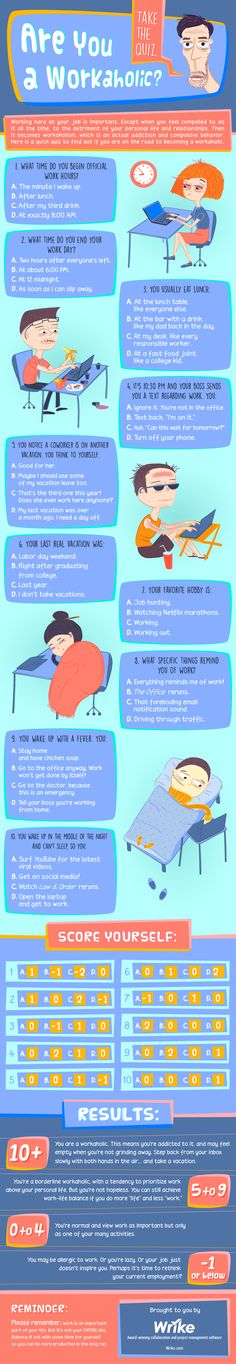 Find Out If You're a Workaholic — Take the Quiz! → https://www.wrike.com/blog/how-to-figure-out-if-youre-a-workaholic-infographic/?utm_source=pinterest&utm_medium=socials&utm_campaign=blogposts