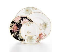 Marchesa by Lenox Dinnerware, Painted Camellia Collection - Fine China - Dining & Entertaining - Macy's Delft, Fine China Patterns, Casual Dinnerware Sets, Royal Copenhagen, Fine China Dinnerware, Wedding China, China Sets, Royal Doulton, Marchesa