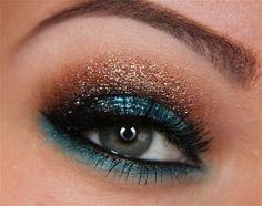 Bronze Shimmer Eyeshadow with Black Eyeliner and Aqua Eyeliner