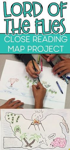 Lord of the Flies map project with close reading and analysis. ideas, activities and resources for t Teaching American Literature, High School Literature, Teaching English, British Literature, English Lesson Plans, English Lessons, Gcse English, Ap English, 10th Grade English