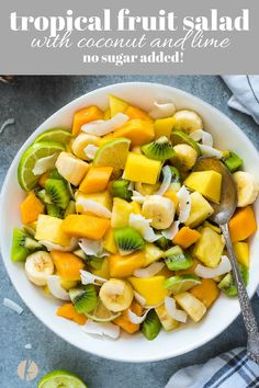 Tropical Fruit Salad with Coconut and Lime is a delicious blend of tropical fruit tossed with fresh lime juice and coconut flakes with no added sugar! via tropical fruit salad recipe pineapple papaya coconut lime nosugaradded vegan veganrecipes glutenfree Healthy Recipes, Healthy Fruits, Healthy Salads, Healthy Eating, Cooking Recipes, Food Recipes Summer, Dessert Healthy, Tropical Fruit Salad, Best Fruit Salad