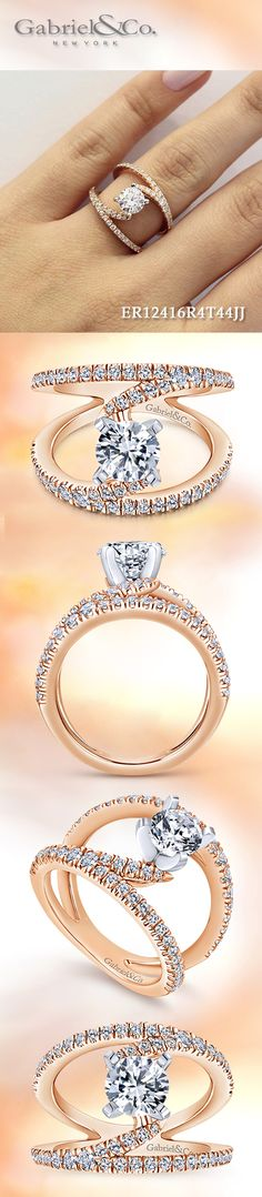 Gabriel & Co. - Voted #1 Most Preferred Bridal Brand.  Crafted from pink/rose gold and covered in diamond accents, this stunning engagement ring features a dramatic split shank design.