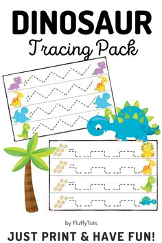 Your Dinosaur lover kids are going to love this NO-MESS, NO-PREP Dinosaurs Tracing Lines for Preschool pack!  Perfect to develop and practice pre-writing skills while they are having fun with the dinosaurs! All Dinosaurs, Dinosaurs Preschool, Dinosaur Activities, Motor Skills Activities, Fine Motor Skills, Dinosaur Printables, Preschool Printables, Pre Writing, Writing Skills