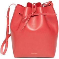Mansur Gavriel Calf Bucket Bag ($695) ❤ liked on Polyvore featuring bags, handbags, shoulder bags, bucket bags, kirna zabete, accessories handbags, genuine leather purse, shoulder handbags, leather purse and red handbags