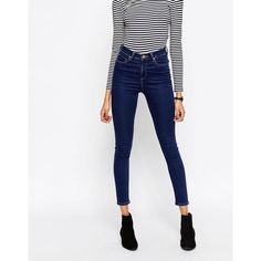 ASOS Ridley High Waist Skinny Jeans in Deep Blue Wash ($41) ❤ liked on Polyvore featuring jeans, pants, blue, high-waisted jeans, white high waisted jeans, blue skinny jeans, blue jeans and skinny jeans