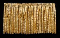 'Riscos Oro' (2002) by Colombian artist Olga de Amaral (b.1932). Fiber, acrylic paint, gold leaf, 33 x 56 in. via Bella Artes on artnet