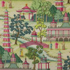 Pagoda Fabric - Manuel Canovas Design Library Pink and Green Gallerie B
