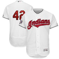 bfad1f6e8 Cleveland Indians Majestic 2018 Jackie Robinson Day Authentic Flex Base  Jersey – White Jackie Robinson Day