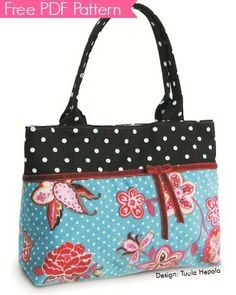 An easy boxy bag to sew with this free PDF pattern from Ottobre. This handbag would be beautiful sewnwith rich upholstery fabric, keepingthe velvet ribbon wrapped around the bag and tied in a bow. Mix and match your fabrics, textures, and designs to create unique handbags using a very simple pattern. Get the