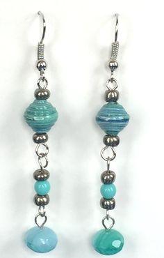 #earrings #jewelry #paper #beads  Paper Beads Earrings - Peaceful - EAR 004109