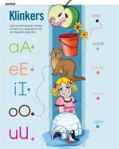 Klinkers | Baba en Kleuter School Posters, Classroom Posters, Classroom Activities, Toddler Activities, Classroom Ideas, School Fun, Pre School, Afrikaans Language, Alphabet For Toddlers