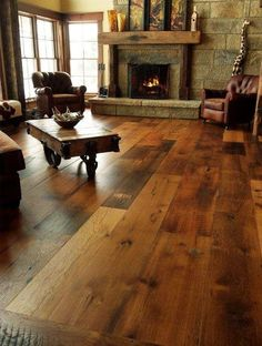 Lovely Wood Flooring Ideas Wide Plank Family Rooms Love these wood floors I only wish the actual fireplace was House Design, Wood Floors, House, Home, Home Remodeling, House Styles, New Homes, Wide Plank Flooring, Rustic House
