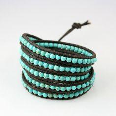Turquoise Leather Wrap Bracelet #etsy
