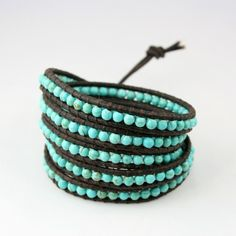 Turquoise Leather Wrap Bracelet #etsy